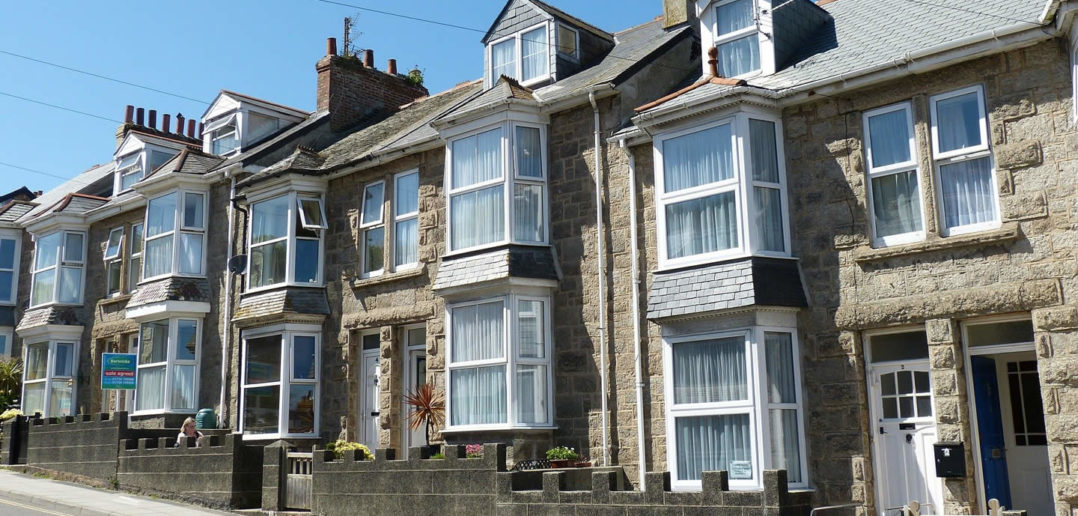 Terraced houses, St Ives, Cornwall, UK